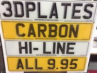 Standard, 3D, carbon and hi-line number plates