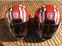 Matching England football motorcycle helmets