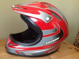 661 BMX DOWNHILL FULL FACE BIKE HELMET RED YOUTH LARGE FITS TEENAGER