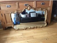 Antique French gilt gold crested ornate mirror