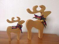christmas star gazing reindeer decorations mother and baby metallic gold bells tartan ribbon