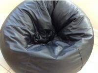 Black Leather Bean Bag - For Sale