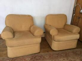 Pair of soft yellow armchairs