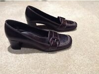Ladies Brown Leather Court Shoes-Size 4-Next