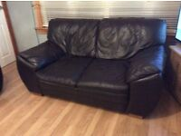Big brown 3 and 2 seater leather sofa