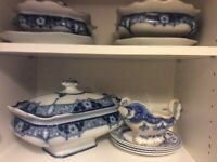 Complete Unused Blue and White Dinner Service