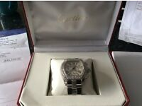 Diamond Cartier men's roadster watch amazing piece, Comes in polished stainless steel,fully loaded