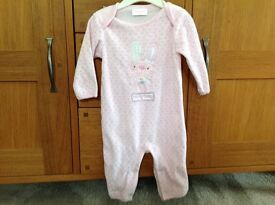 Pink, thick and velvety babygro. Size 3-6 months.