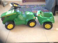 John Deere ride on tractor & trailer