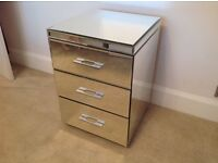NEXT mirrored bedside table/ small chest of drawers