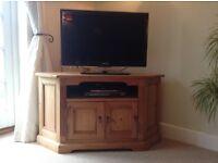 TV stand, corner, antique pine