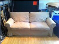 IKEA beige fabric double sofa bed