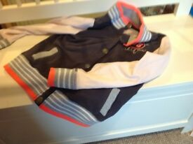 Girls grey and peach baseball jacket age 9-10 years