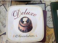 Four square cake plates chocolate-theme