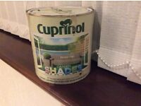 Two 2.5 litre tins of Cuprinol garden shades , unopened in Muted Clay, un