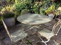 Vintage metal garden table and 4 chairs