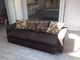 Brown Fabric 4 seater sofa, good condition, collect from Verwood