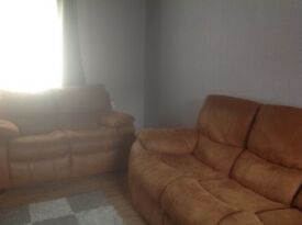 Faux suede 3 & 2 seater sofas for sale