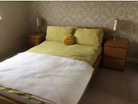 IKEA double bed frame and 2 bedside cabinets from the Malim range.