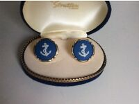 WEDGEWOOD blue and gold anchor Cufflinks