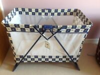 Travel cot, Mothercare, good condition also cot quilt and bedding from Ikea