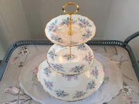 Colclough Bone China 3 Tier Cake Stand. Pink & Blue .