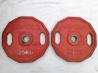 2 x 25kg Jordan Dual-Grip Olympic Rubber Weights