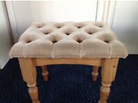 Footstool pale gold button covering. In need of new loving home.