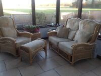 Cane suite with coffee tables