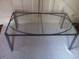 Modern Industrial Glass Coffee Table Excellent Condition / Can Deliver