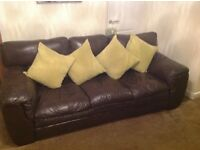3 seater sofa 1 chair and foot rest brown leather very comfortable in very good condition