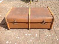 Vintage steamer trunk. Wood banded with metal corners