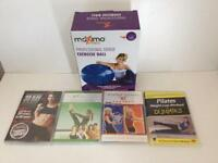 New Sealed Pilates Exercise Ball and DVD's.