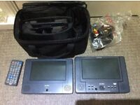 In car DVD player with twin screens and remote
