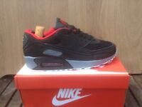 Nike Air Max 90 Trainers - Black / Red / Grey - Size UK 7 ***NEW IN BOX***