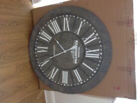 100cm Round Wall Clock, Grey Metal, Albani Kensington From Oak Furnitureland Boxed