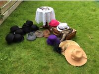 Vintage photo booth props, table, hats, suitcase, crochet tablecover, specs