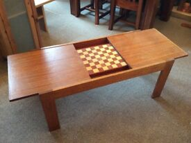Coffee table with integral chess board