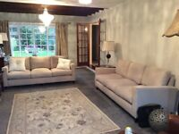 X2 BRAND NEW 3 Seater Sofas - light Grey plain woven durable Fabric