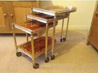 Set of 3 vintage style hostess trolleys