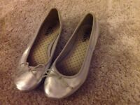 Girls sliver ballet pumps size 2