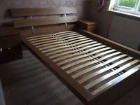 Ikea malm oak effect double bed no mattress