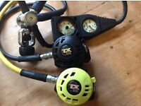 Diving regulator Apex TX40 + Octo, Suunto double guage and suit inflation hoze