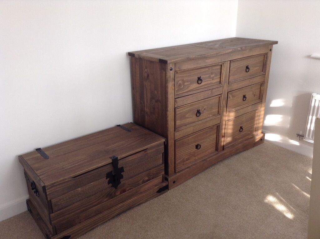 Puerto Rico Dark Pine Double Bedroom Furniture Set Inc Double Bed