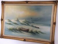 Framed Oil Painting of Beach Lake by Adamson