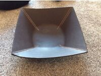 leather look brown fruit bowl