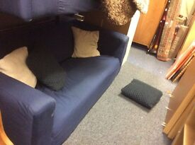 Two ikea navy sofas reduced for quick sale £50 both