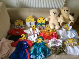 Build-a-bear teddies with clothings and shoes