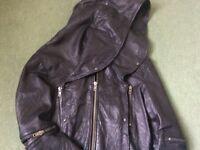 All Saints Black Bomber Leather Jacket Hooded *Cobra*, Small