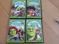 Shrek DVDs, as new, all 4 movies